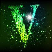 Alfabeto vector verde. letra v — Vector de stock