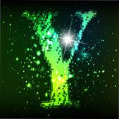 Vector green alphabet. Letter Y — Stock Vector