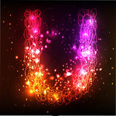 Neon Light Alphabets. Letter U — Stock Vector