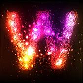 Neon Light Alphabets. Letter W — Stock Vector