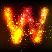 Fire letter. Letter W — Vettoriale Stock
