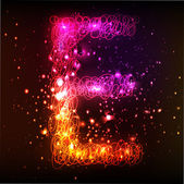 Neon Light Alphabets. Letter E — Stock Vector