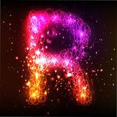Neon Light Alphabets. Letter R — Stock Vector