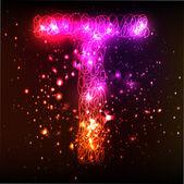 Neon Light Alphabets. Letter T — Stock Vector