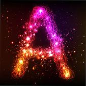 Neon Light Alphabets. Letter A — Stock Vector
