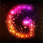 Neon Light Alphabets. Letter G — Stock Vector