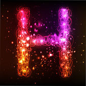 Neon Light Alphabets. Letter H — Stock Vector