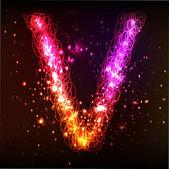 Neon Light Alphabets. Letter V — Stock Vector