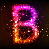 Neon Light Alphabets. Letter B — Stock Vector