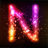 Neon ışık alfabe. harf n — Stok Vektör