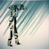 Man running in the rain. — Stock Vector