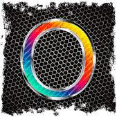 抽象 grunge 金属背景和金属、 彩色字母 o — 图库矢量图片