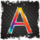 Abstract grunge metallic background and metal, colored letter A — Stock Vector