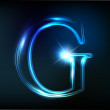 Glowing neon font. Shiny letter G — Stock Vector