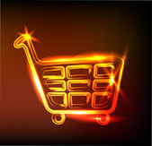 Fiery shopping cart sign — Stock Vector