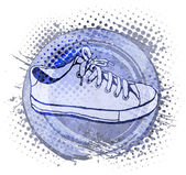 Halftone vector background with sneakers — Stock Vector