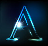 Glowing neon font. Shiny letter A — Stock Vector