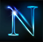 Glowing neon font. Shiny letter N — Stock Vector