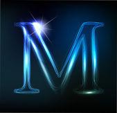 Letra de neón brillante. brillante letra m — Vector de stock