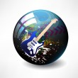 Glossy colorful abstract globe, with a guitar — Stock Vector