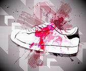 Grunge arka plan ayakkabılar ile — Stok Vektör