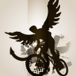 Biker with wings — Stock Vector