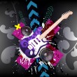 VECTOR Music Event Background with a colorful Electric Guitar — Stock Vector