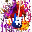Music Event Background with a colorful Electric Guitar — Stock Vector