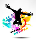 Dancing boy silhouette — Stock Vector