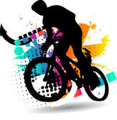 Silhouette Cycling — Vector de stock