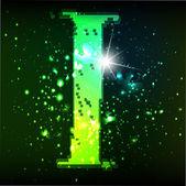 Alfabeto verde abstracto. letra i — Vector de stock