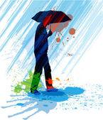 Hombre corriendo bajo la lluvia. — Vector de stock
