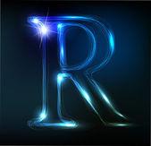 Carta de neón brillante sobre fondo oscuro. letra r — Vector de stock