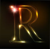 Glowing neon font. Shiny letter R — Stock Vector