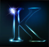 Glowing neon font. Shiny letter K — Stock Vector