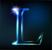Glowing neon font. Shiny letter L — Stock Vector