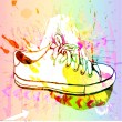 grunge background with sneakers — Stock Vector