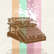 Stock Vector: Old typewriter on grunge background