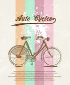 Old retro bicycle grunge background — Stock Vector