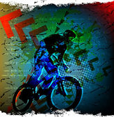 Ilhouette cycling on abstract background. — Vector de stock