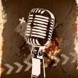 Stock Vector: Grunge concert poster with microphone