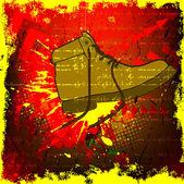 Fond grunge avec des chaussures — Vecteur