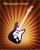VECTOR retro Music Background with a colorful Electric Guitar — Vecteur