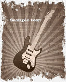 VECTOR retro Music Background with a grunge Electric Guitar — Vecteur
