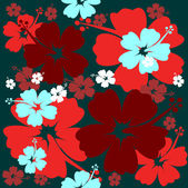 Hibiscus flower seamless Background — Stock Vector