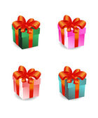 Kleurrijke geschenkdozen instellen — Stockvector
