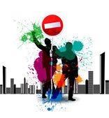Affiche grunge couleur avec panneau de signalisation — Vecteur