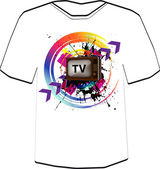 Retro TV background . T-shirt design template. — Cтоковый вектор