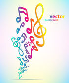 Colorful music background with notes. — Stock Vector