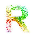 Music theme grungy font. Letter R — Stock Vector